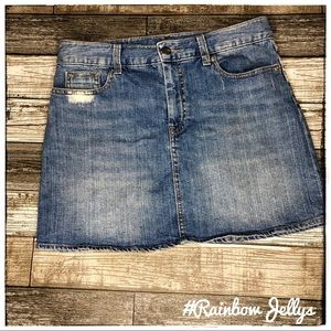 Distressed Jean Mini Skirt